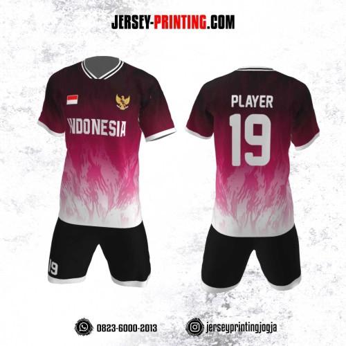 Jersey Futsal Motif Bercak Pink Putih