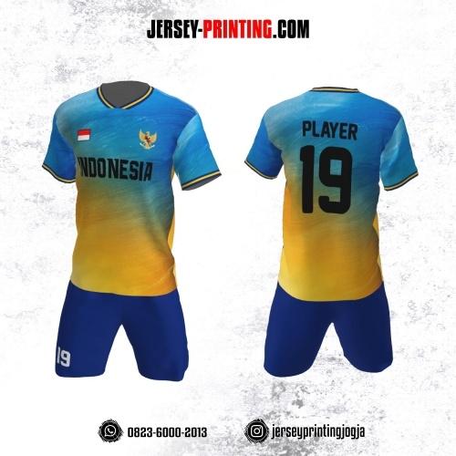 Jersey Futsal Motif Brush Vector Biru Kuning
