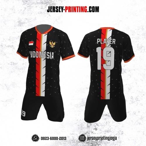 Jersey Futsal Motif Bulu Merah Putih Hitam