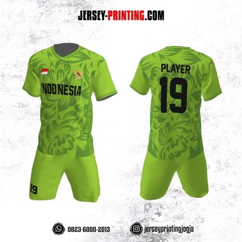 Jersey Futsal Motif Bunga Hijau Segar