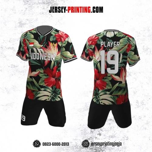 Jersey Futsal Motif Bunga Merah Hijau