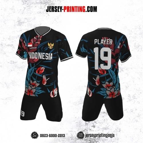 Jersey Futsal Motif Bunga Merah Hitam