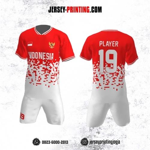 Jersey Futsal Motif Cacah Gori Merah Putih