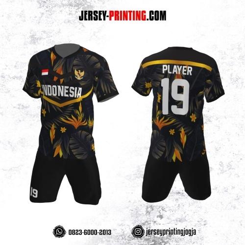 Jersey Futsal Motif Dedaunan Kuning