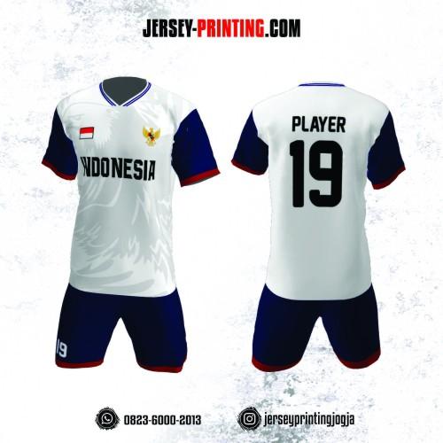 Jersey Futsal Motif Elang Dongker Putih