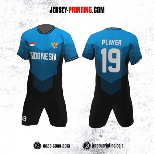 Jersey Futsal Motif Garis Biru Hitam