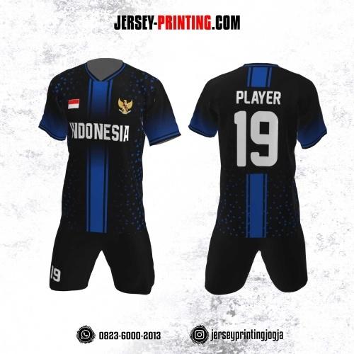 Jersey Futsal Motif Garis  Biru Tua Hitam