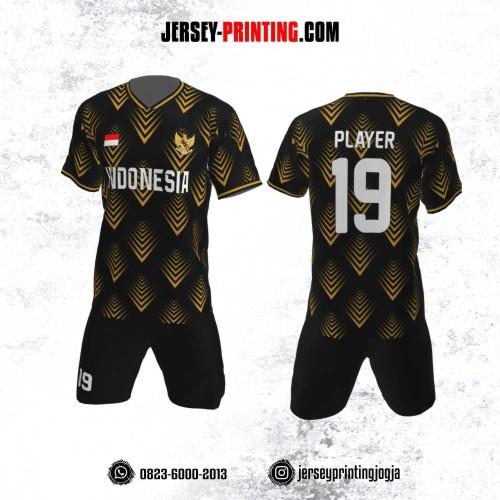 Jersey Futsal Motif Garis Hitam Emas