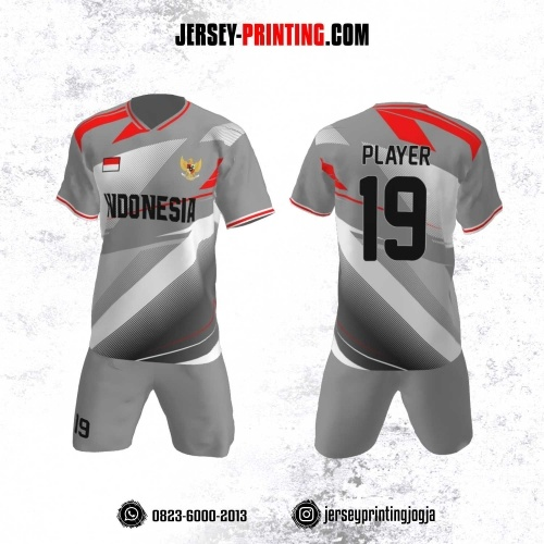 Jersey Futsal Motif Garis Merah Abu-Abu