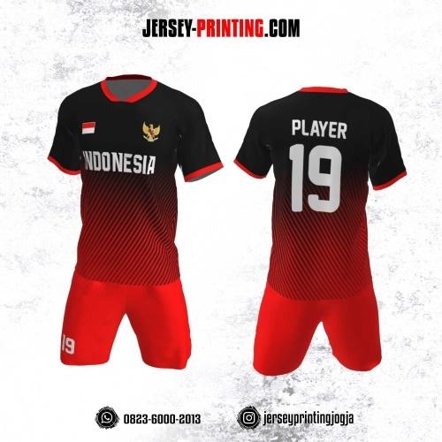 Jersey Futsal Motif Garis Merah Hitam