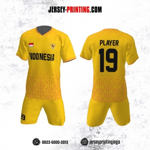 Jersey Futsal Motif Garis Merah Kuning