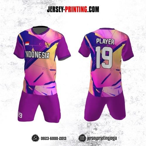 Jersey Futsal Motif Geometris Abstrak Pink