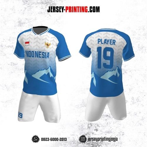 Jersey Futsal Motif Geometris Biru Abu-abu