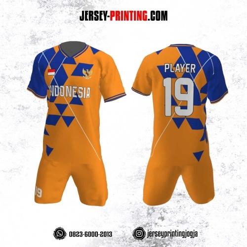Jersey Futsal Motif Geometris Biru Tua Kuning Kunyit