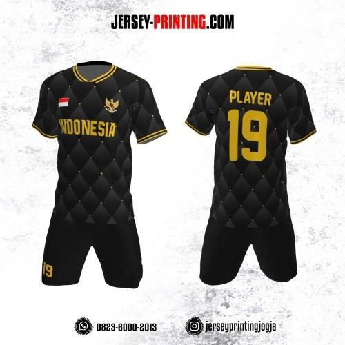 Jersey Futsal Motif Geometris Dot Hitam Gold