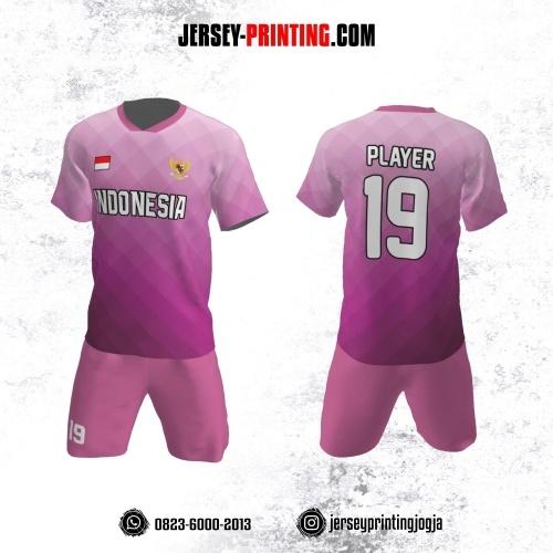Jersey Futsal Motif Geometris pink