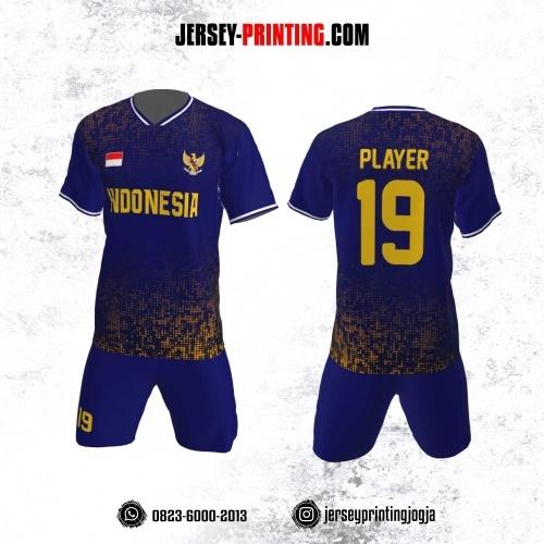 Jersey Futsal Motif Gradasi Kotak Kuning Biru