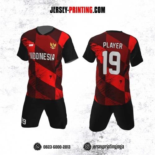 Jersey Futsal Motif Jajargenjang Bercak HItam Merah Hitam