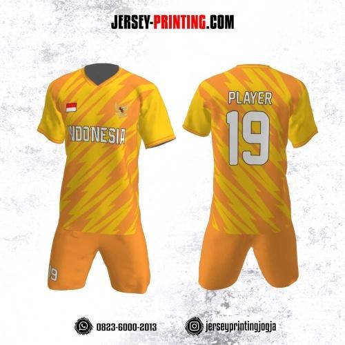 Jersey Futsal Motif Kilat Orange Kuning
