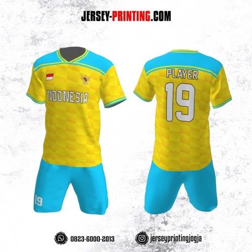 Jersey Futsal Motif Kotak Gradasi Kuning Biru