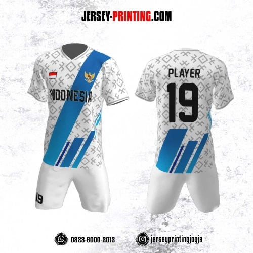 Jersey Futsal Motif Line Biru Abu-Abu