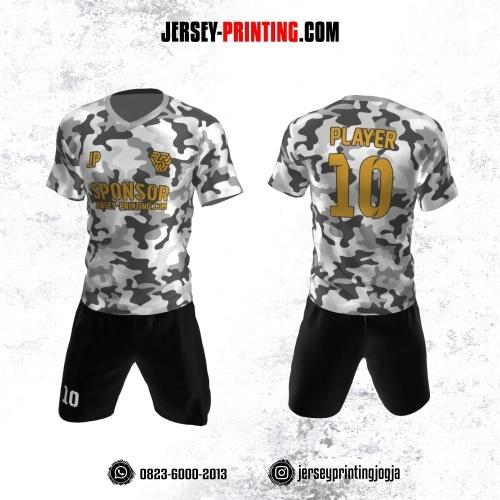 Jersey Futsal Motif Loreng Army Abu-abu Hitam