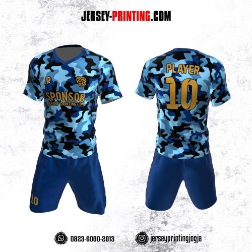 Jersey Futsal Motif Loreng Army Biru Hitam