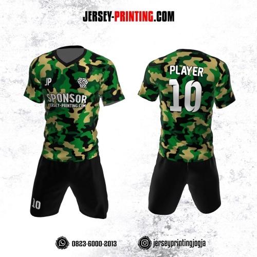 Jersey Futsal Motif Loreng Army Hijau Krem Hitam
