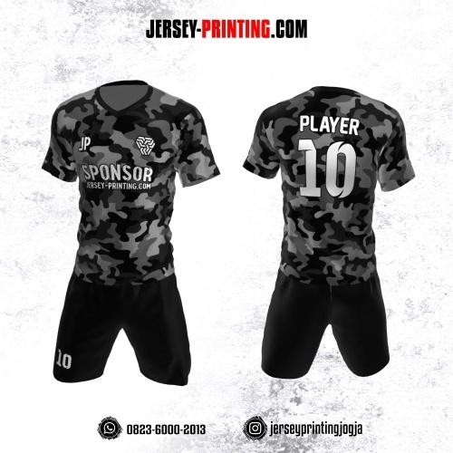 Jersey Futsal Motif Loreng Army Hitam Abu-abu