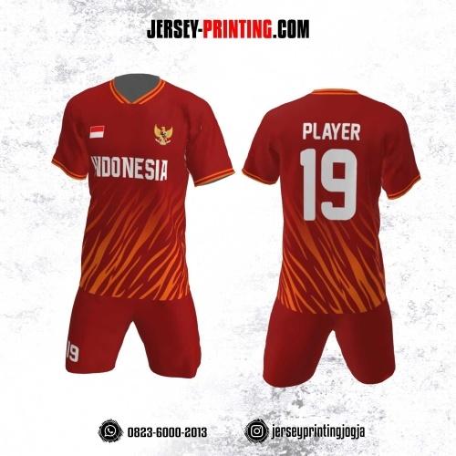 Jersey Futsal Motif Loreng Macan Orange Merah