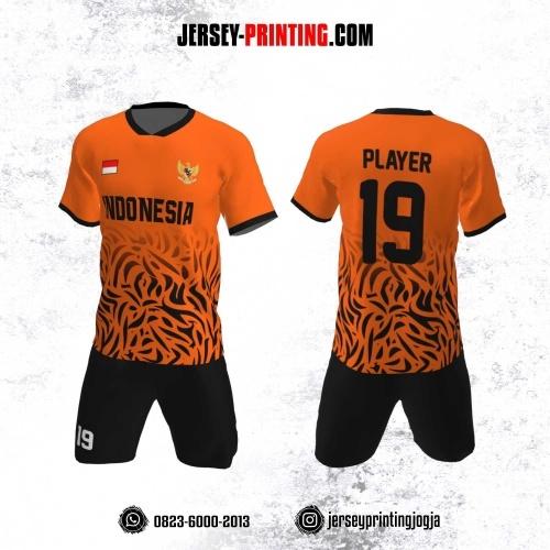 Jersey Futsal Motif Loreng Orange Hitam