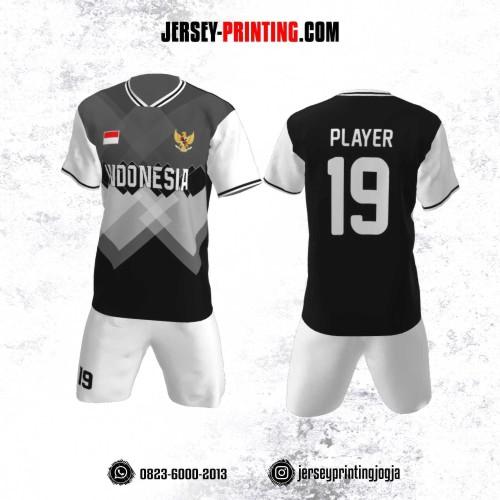 Jersey Futsal Motif Persegi Panjang Abu-Abu Putih