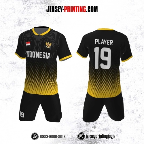 Jersey Futsal Motif Polkadot Kuning Hitam