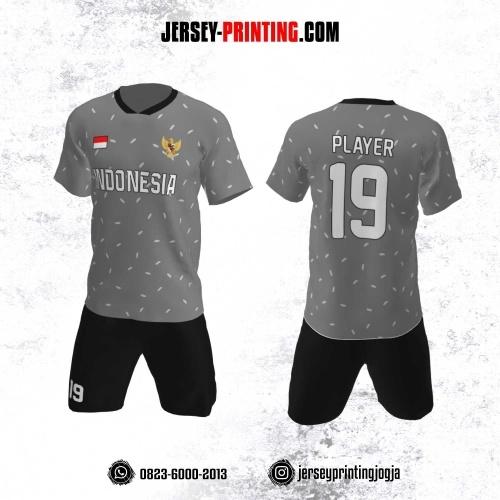 Jersey Futsal Motif Polkadot Oval Abu-Abu Putih