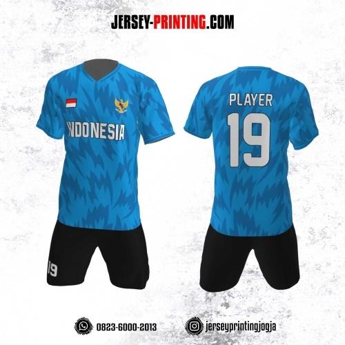 Jersey Futsal Motif Rumput Biru