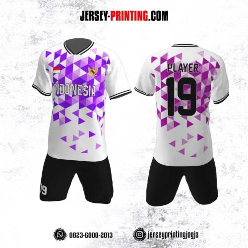 Jersey Futsal Motif Segitiga Ungu Pink