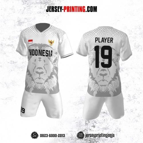 Jersey Futsal Motif Singa ABu-Abu Putih