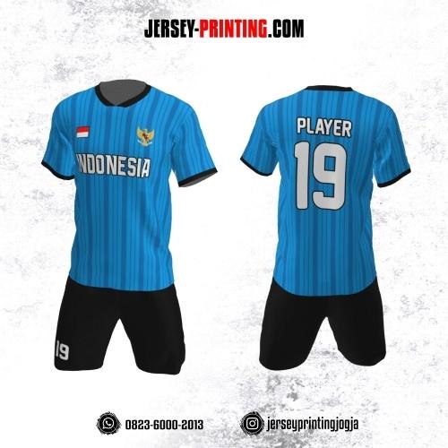Jersey Futsal Motif Strip Biru