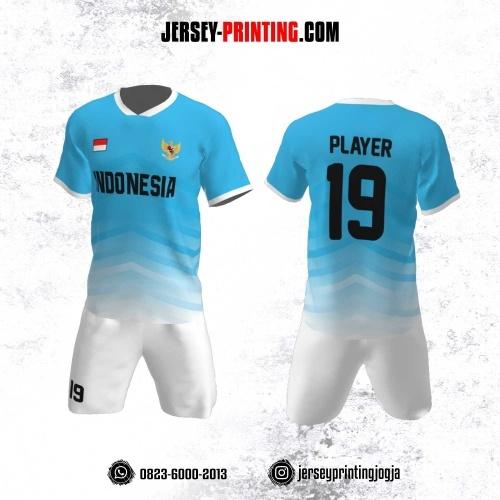 Jersey Futsal Motif Strip Biru Muda