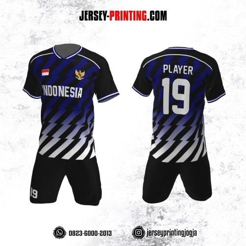 Jersey Futsal Motif Strip Biru Putih