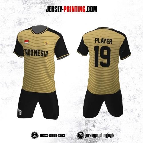 Jersey Futsal Motif Strip Coklat Muda