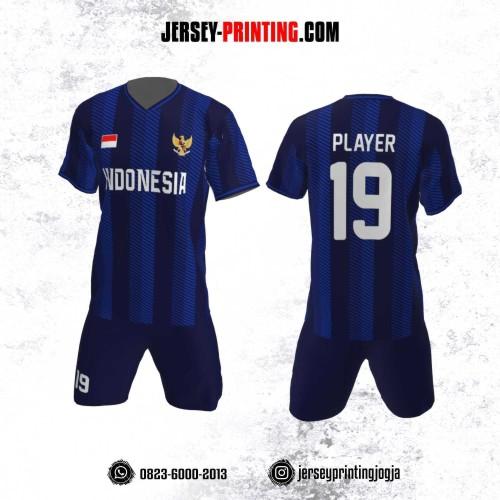 Jersey Futsal Motif Strip Dongker Navy