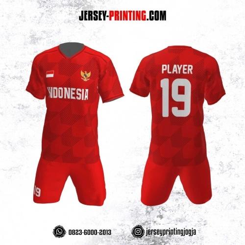 Jersey Futsal Motif Strip Hitam Merah