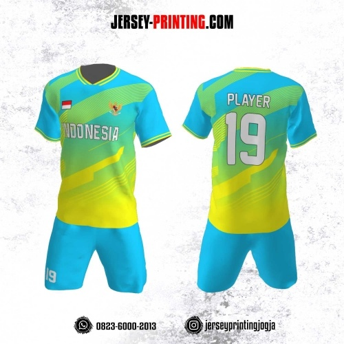 Jersey Futsal Motif Strip Kuning Biru