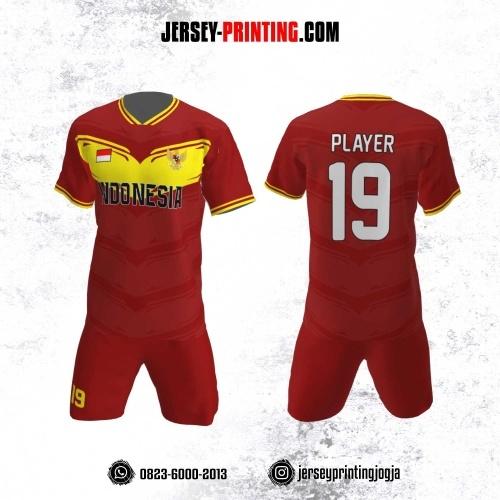 Jersey Futsal Motif Strip Kuning Merah
