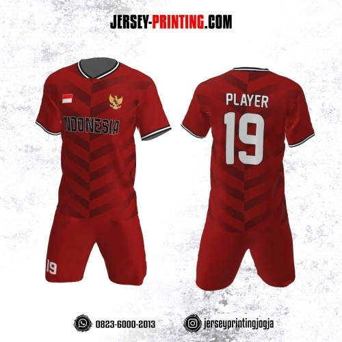 Jersey Futsal Motif Strip  Merah