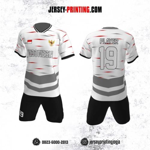Jersey Futsal Motif Strip Merah Abu-Abu