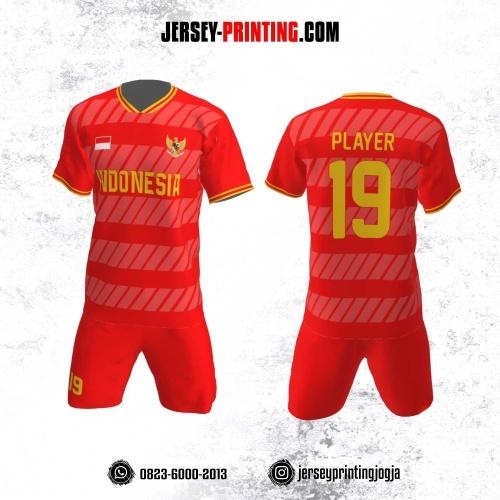 Jersey Futsal Motif Strip Merah Putih