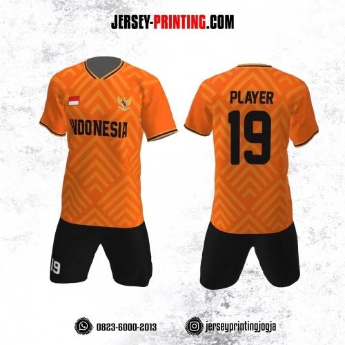 Jersey Futsal Motif Strip Orange