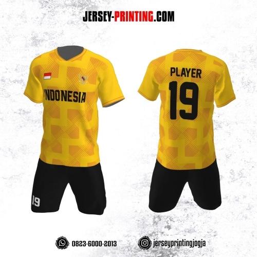 Jersey Futsal Motif Strip Zigzag Kuning